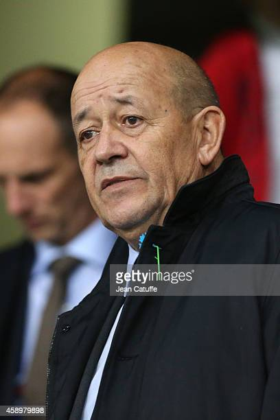French Minister of Defense JeanYves Le Drian attends the international friendly match between France and Albania at Stade de la Route de Lorient...