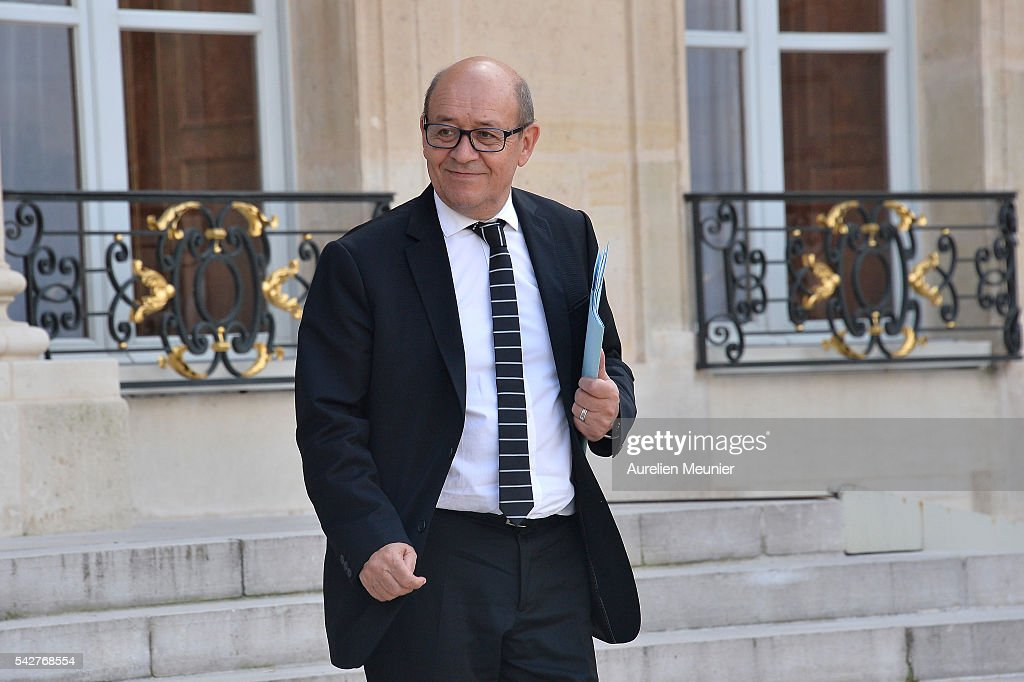 French Minister of Defense <a gi-track='captionPersonalityLinkClicked' href=/galleries/search?phrase=Jean-Yves+Le+Drian&family=editorial&specificpeople=2122785 ng-click='$event.stopPropagation()'>Jean-Yves Le Drian</a> leaves after an exceptional cabinet meeting following the results of the UK EU Referendum vote at the Elysee Presidential palace on June 24, 2016 in Paris, France. The United Kingdom has voted to leave the EU in a European Union (EU) referendum. British Prime Minister David Cameron announced his resignation now that the majority of British voters decided to leave the European Union.