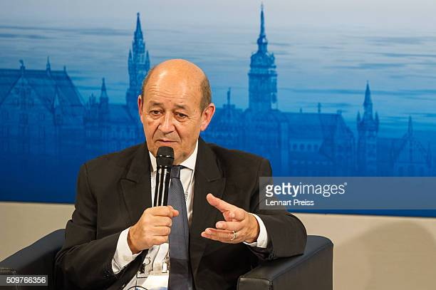 French Minister of Defense JeanYves Le Drian speaks at the 2016 Munich Security Conference at the Bayerischer Hof hotel on February 12 2016 in Munich...