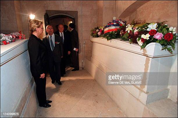 French minister of defense Michele Alliot Marie pay tribute to WWII French resistant Jean Moulin in a ceremony at the Pantheon In Paris France On...