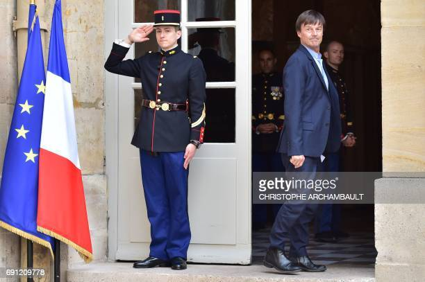 French Minister of Ecological and Inclusive Transition Nicolas Hulot arrives at the Hotel de Matignon in Paris on June 1 for a launch meeting with...