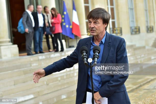 French Minister of Ecological and Inclusive Transition Nicolas Hulot answers journalists' questions after a meeting on climate change on June 6 2017...