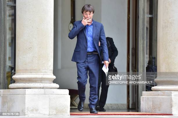 French Minister of Ecological and Inclusive Transition Nicolas Hulot leaves the Elysee palace after a meeting on climate change on June 6 2017 at the...