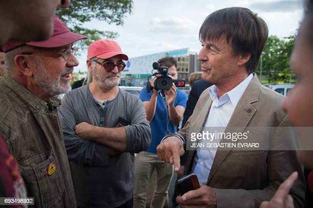 French Minister of Ecological and Inclusive Transition Nicolas Hulot speaks with opponents to the project of international airport of...