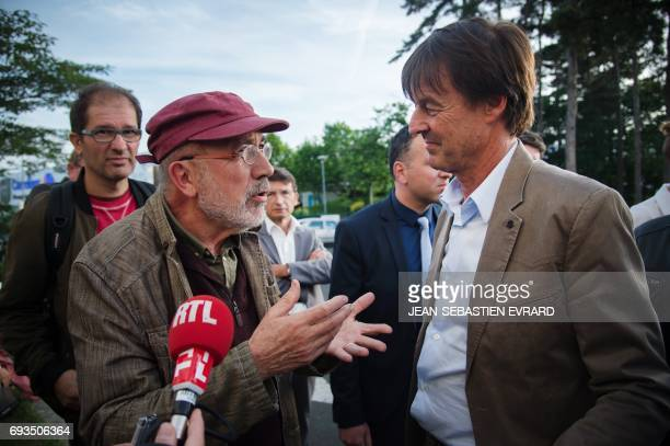 French Minister of Ecological and Inclusive Transition Nicolas Hulot talks with opponents against the international airport of NotreDamedesLandes...