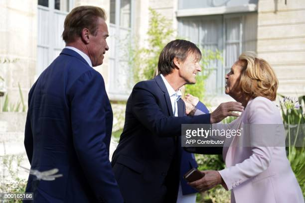 French Minister of Ecological and Inclusive Transition Nicolas Hulot welcomes former California governor Arnold Schwarzenegger founder of the R20...