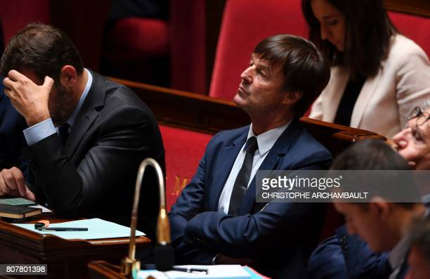 French Minister of Ecological and Inclusive Transition Nicolas Hulot listens to the speeches of parliamentary groups presidents after the French...