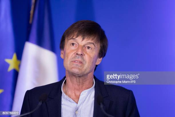 French Minister of Ecological and Inclusive Transition Nicolas Hulot holds a press conference in order to present his Climate plan's on July 6 2017...
