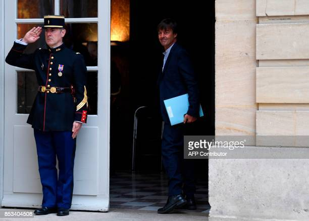 French Minister of Ecological and Inclusive Transition Nicolas Hulot leaves after a report on the Grand Investment Plan by French economist Jean...