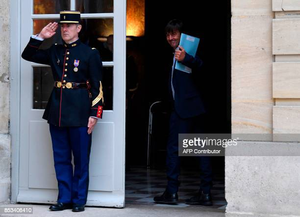 French Minister of Ecological and Inclusive Transition Nicolas Hulot arrives for a report on the Grand Investment Plan by French economist Jean...