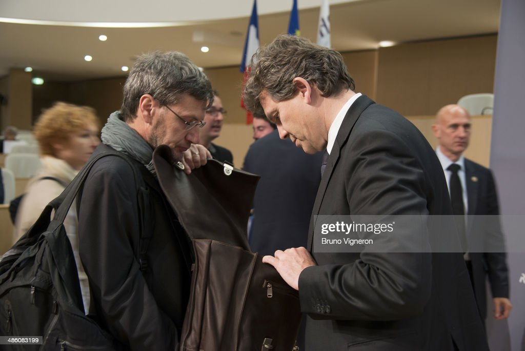French minister of Economy and Economic recovery <a gi-track='captionPersonalityLinkClicked' href=/galleries/search?phrase=Arnaud+Montebourg&family=editorial&specificpeople=588268 ng-click='$event.stopPropagation()'>Arnaud Montebourg</a> attends the European meeting for enterprises financing on April 22, 2014 in Lyon, France. Sapin and Montebourg are sharing responsibility for the economy based on the German model.