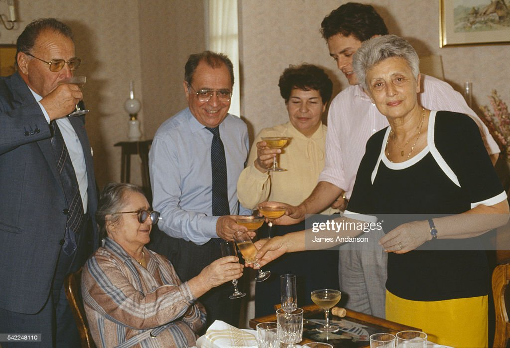 French Minister of Economy and Finance and Nevers Mayor Pierre Beregovoy at home with his brotherinlaw his mother Irene one of his sisters one of his...