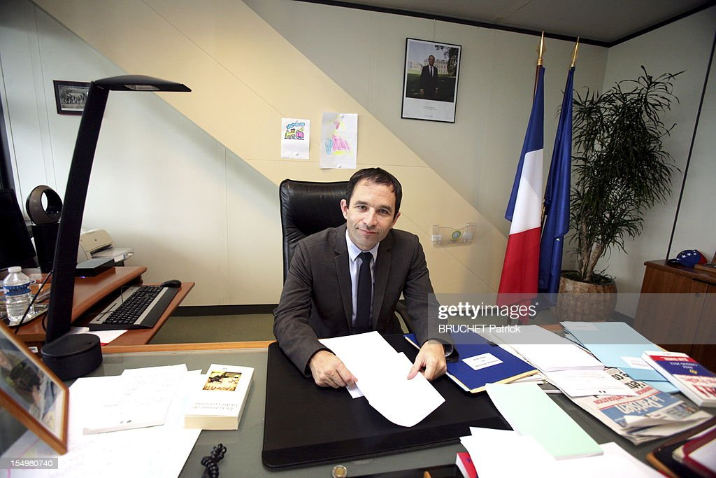 French minister of Economy <a gi-track='captionPersonalityLinkClicked' href=/galleries/search?phrase=Benoit+Hamon&family=editorial&specificpeople=2143789 ng-click='$event.stopPropagation()'>Benoit Hamon</a> is photographed for Paris Match inside his minister's office in Bercy on October 11, 2012 in Paris, France. (Photo by Patrick Bruchet/Paris Match via Getty images).