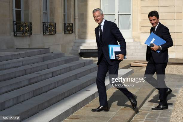 French Minister of Economy Bruno Le Maire and French Junior Minister for Economy Benjamin Griveaux arrive to attend the first government meeting...