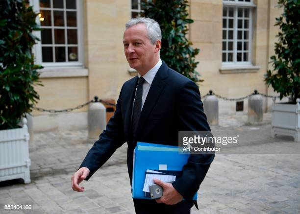French Minister of Economy Bruno Le Maire arrives for a report on the Grand Investment Plan by French economist Jean PisaniFerry on September 25 2017...