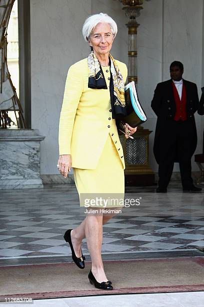 French Minister of Economy Christine Lagarde leaves the weekly french cabinet meeting at Elysee Palace on April 20 2011 in Paris France