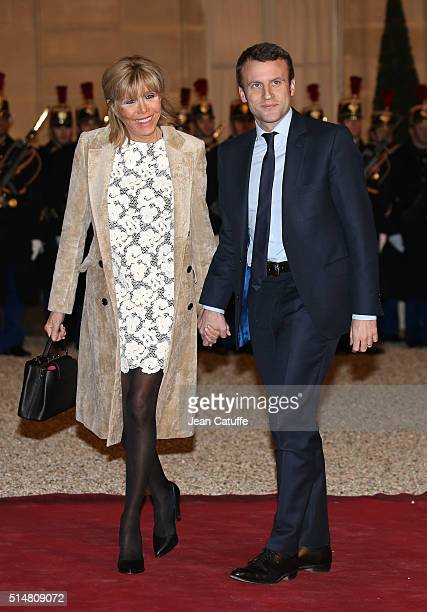 French Minister of Economy Emmanuel Macron and his wife Brigitte Trogneux arrive at The State Dinner in Honor Of King WillemAlexander of the...