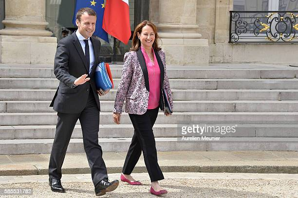 French Minister of Economy Emmanuel Macron and Segolene Royal French Minister of Ecology Sustainable Development and Energy leave the Elysee Palace...