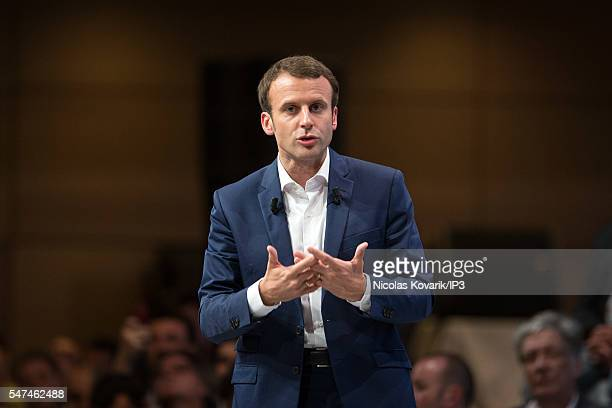 French Minister of Economy Emmanuel Macron holds the first meeting of his political movement titled 'En Marche' in front of 3000 partisans at the...