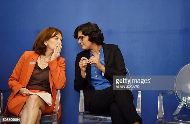 French Minister of Employment Myriam El Khomri and French Minister for Family Children and Women's rights Laurence Rossignol speak as they attend the...