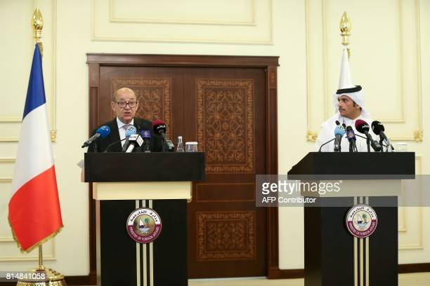 French Minister of Europe and Foreign Affairs JeanYves Le Drian speaks during a press conference with his Qatari counterpart Minister Mohammed bin...