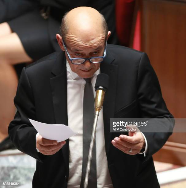 French Minister of Europe and Foreign Affairs JeanYves Le Drian speaks during a session of questions to the government at the French National...
