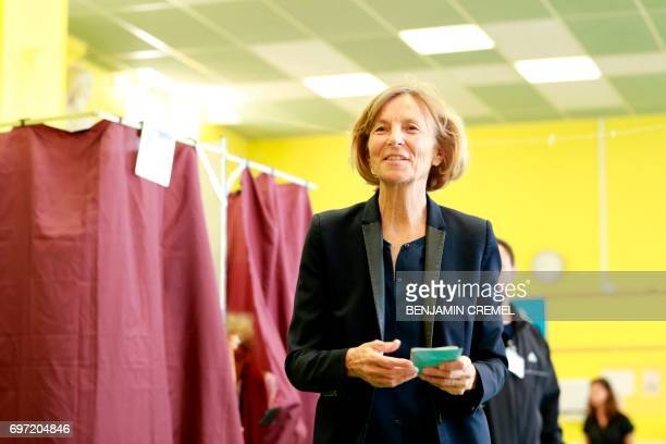 French Minister of European Affairs Marielle de Sarnez arrives to cast her vote at a polling station in Paris on June 18 during the second round of...