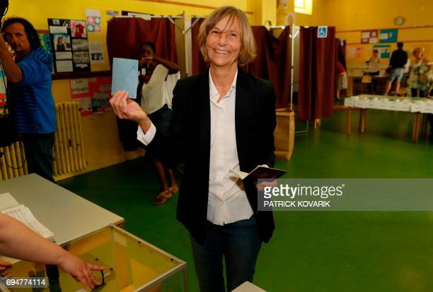French Minister of European Affairs Marielle de Sarnez casts her vote at a polling station in Paris during the first round of the French legislative...
