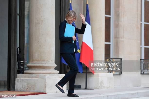 French Minister of European Affairs Marielle de Sarnez gestures as she leaves a cabinet meeting on May 31 2017 at the Elysee Palace in Paris / AFP...