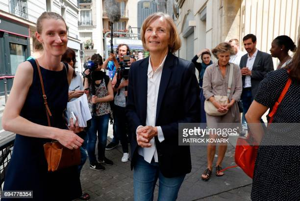 French Minister of European Affairs Marielle de Sarnez leaves a polling station after casting her vote in Paris during the first round of the French...
