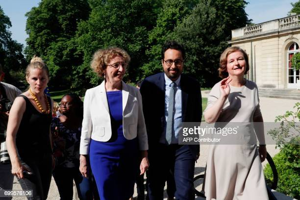 French Minister of European Affairs Nathalie Loiseau Minister of State for the Digital Sector Mounir Mahjoubi and Minister of Labour Muriel Penicaud...