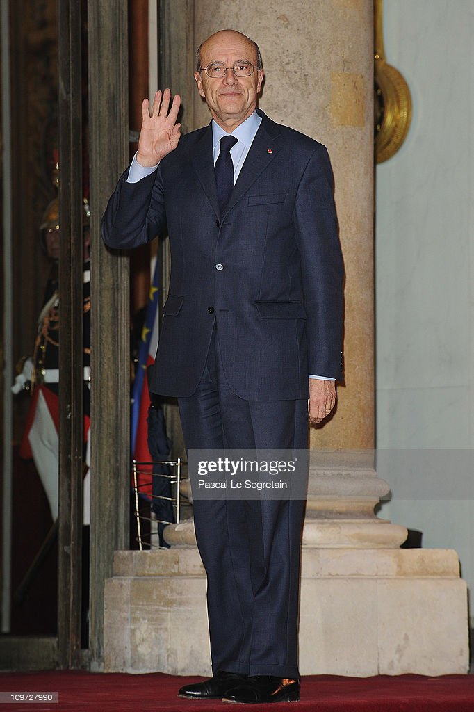 French Minister of foreign affairs Alain Juppe arrives to attend a state dinner with South African President Jacob Zuma and wife at Elysee Palace on March 2, 2011 in Paris, France. Zuma, on his third visit to France since 2008, is due to hold talks with Prime Minister Francois Fillon as well as President Sarkozy and address world finance with the current holders of the G20 Presidency.