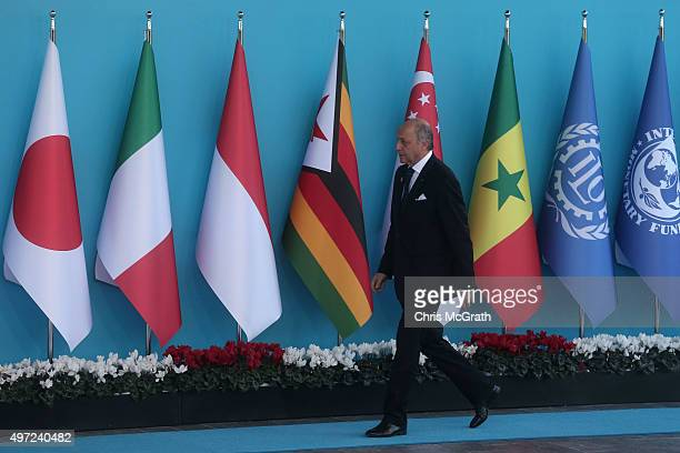 French Minister of Foreign Affairs and International Development Laurent Fabius arrives during the official welcome ceremony on day one of the G20...