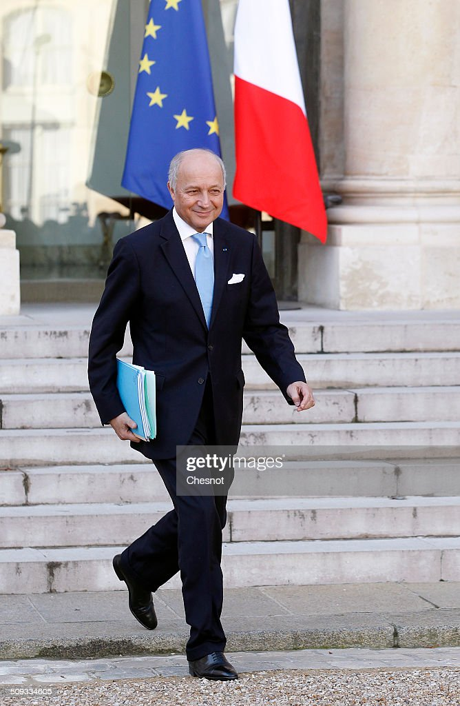 French Minister of Foreign Affairs and International Development <a gi-track='captionPersonalityLinkClicked' href=/galleries/search?phrase=Laurent+Fabius&family=editorial&specificpeople=540660 ng-click='$event.stopPropagation()'>Laurent Fabius</a> leaves after the weekly cabinet meeting at the Elysee Palace on February 10, 2016 in Paris, France. <a gi-track='captionPersonalityLinkClicked' href=/galleries/search?phrase=Laurent+Fabius&family=editorial&specificpeople=540660 ng-click='$event.stopPropagation()'>Laurent Fabius</a> announced today his resignation from the French government. This is the last cabinet meeting before the next ministerial reshuffle.