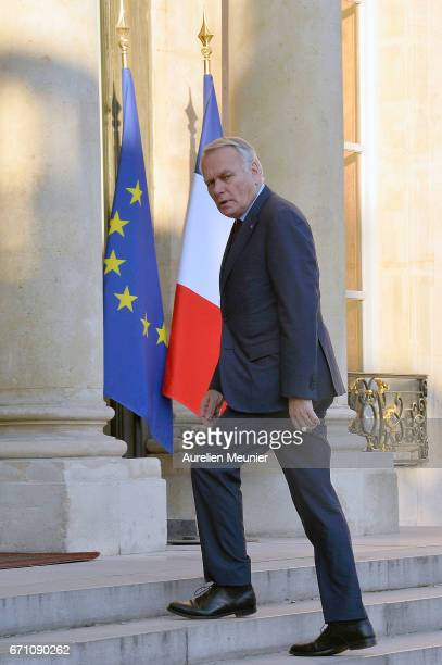 French Minister of Foreign Affairs Jean Marc Ayrault arrives at Elysee Palace for a defense council on April 21 2017 in Paris France One police...