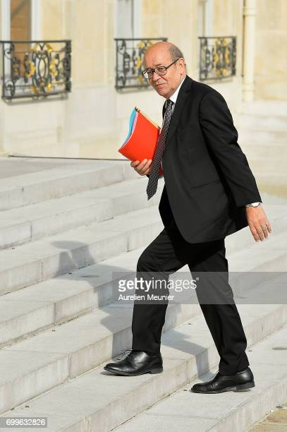 French Minister of Foreign Affairs Jean Yves Le Drian arrives to the Elysee Palace for the weekly cabinet meeting with French President Emmanuel...