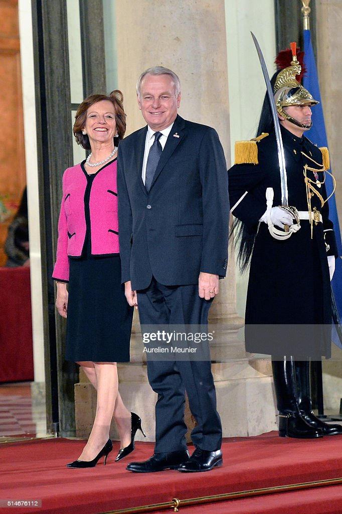 French Minister of Foreign Affairs Jean-Marc Ayrault and his wife Brigitte arrive to the state dinner given by French President Francois Hollande in honor of Queen Maxima of the Netherlands and King Willem-Alexander of the Netherlands at Elysee Palace on March 10, 2016 in Paris, France. Queen Maxima and King Willem-Alexander of The Netherlands are on a two-day state visit in France