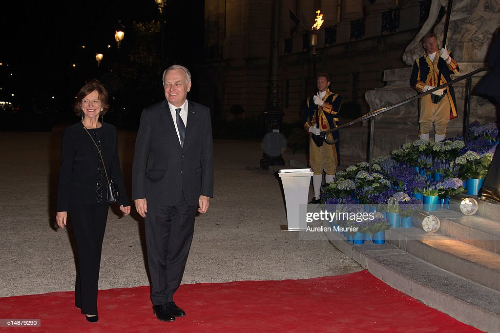 French Minister of Foreign Affairs Jean-Marc Ayrault and his wife Brigitte arrive to a reception given by King Willem-Alexander of the Netherlands and Queen Maxima in honor of the French President Francois Hollande at Le Petit Palais on March 11, 2016 in Paris, France. Queen Maxima and King Willem-Alexander of The Netherlands are on a two-day state visit in France