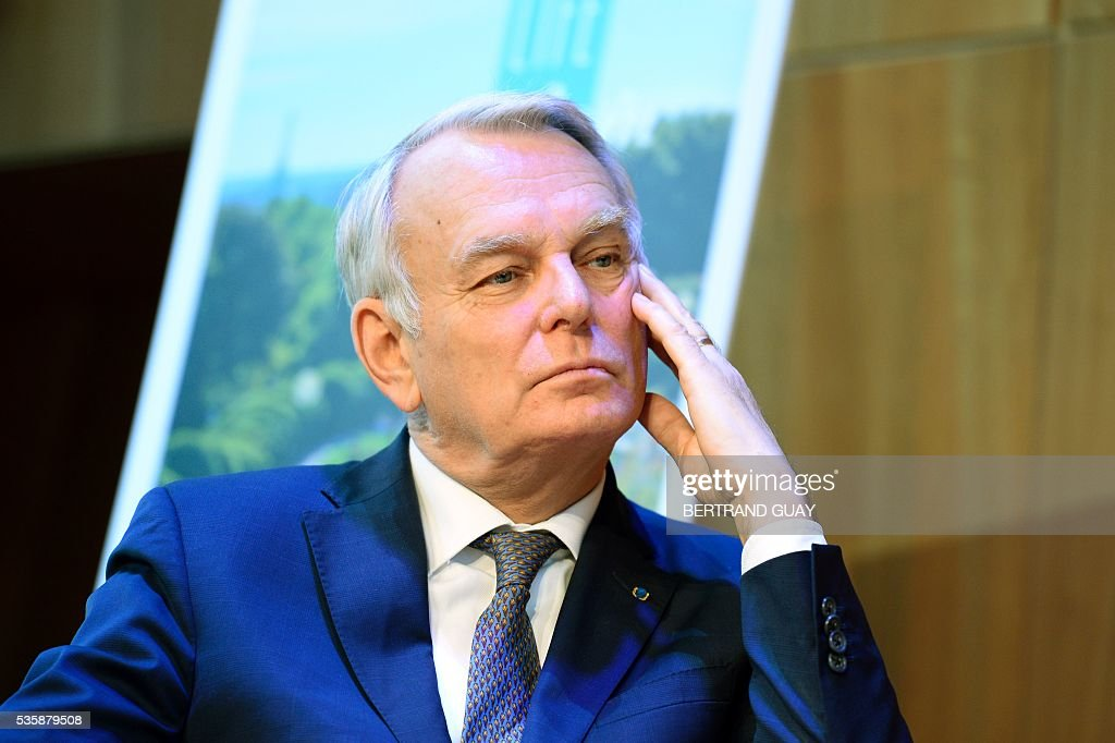 French Minister of Foreign Affairs Jean-Marc Ayrault attends a press conference about tourism in Paris on May 30, 2016 in Paris. / AFP / BERTRAND