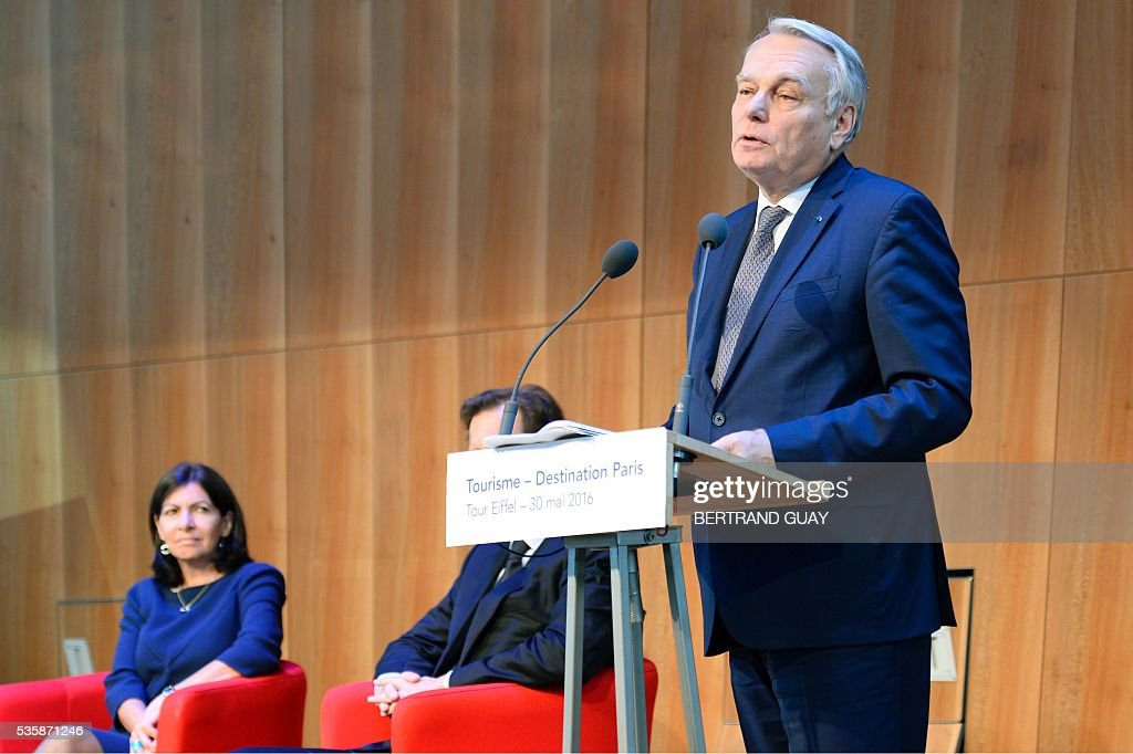 French Minister of Foreign Affairs Jean-Marc Ayrault delivers a speech during a press conference about tourism in Paris on May 30, 2016 in Paris. / AFP / BERTRAND