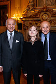 French Minister of Foreign Affairs Laurent Fabius Actress and Sponsor of 'Le Grand Tour' Isabelle Huppert and Ambassador for the cultural...