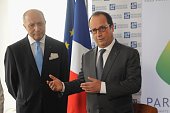 French Minister of Foreign Affairs Laurent Fabius and Francois Hollande attend the launch of the Haiti Reforestation Initiative at the French Mission...