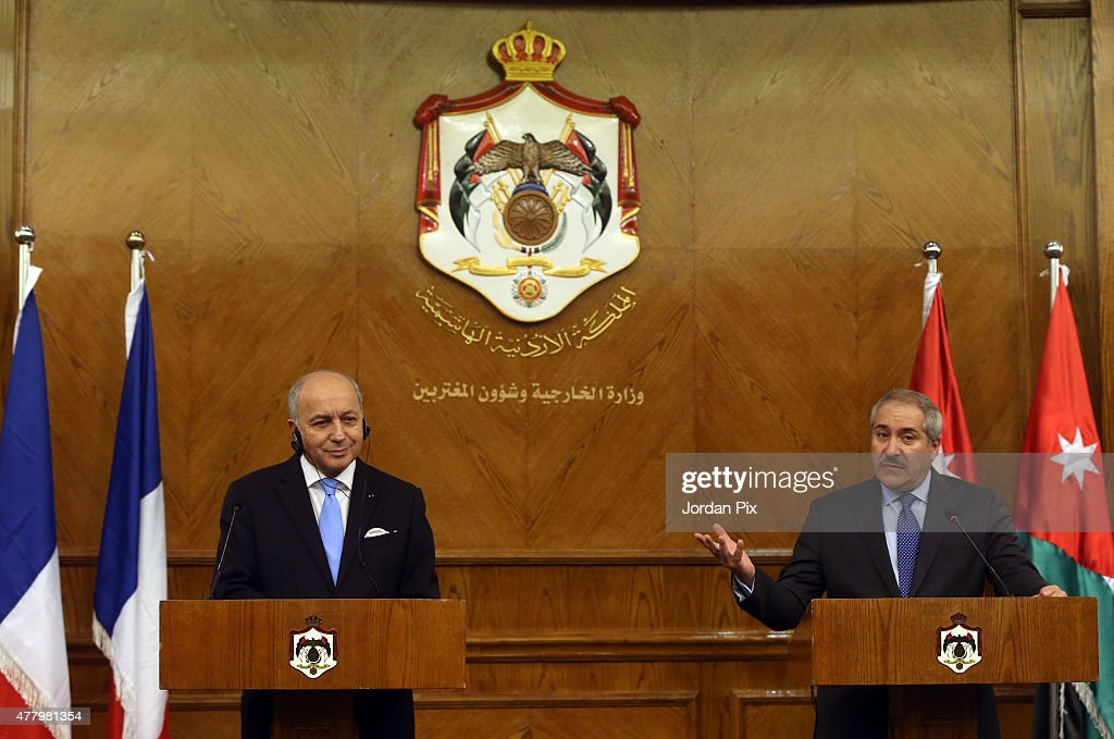 French minister of foreign affairs Laurent Fabius (L) holds a press conference with his Jordanian counterpart miniser Nasser Judeh on June 21, 2015 in Amman, Jordan. Fabius is in the Middle East region to push a French peace initiative between Israel and the Palestinians.