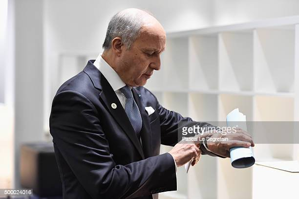 French Minister of Foreign affairs Laurent Fabius is waiting before a conference during The 21st Session Of Conference On Climate Change on December...