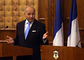 French minister of foreign affairs Laurent Fabius speaks during a press conference with his Jordanian counterpart miniser Nasser Judeh on June 21...