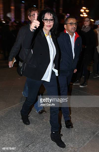 French Minister of Francophone Affairs Yamina Benguigui celebrates the victory of the newly elected Mayor of Paris Anne Hidalgo at City Hall plaza on...