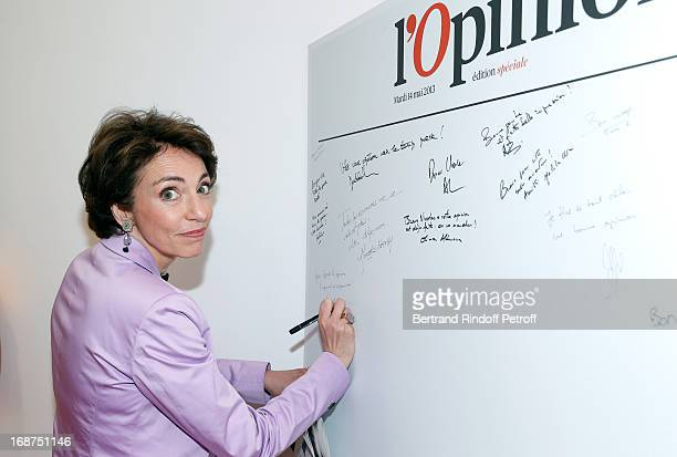 French Minister of Health Marisol Touraine attends 'L'Opinion' Newspaper Launch Party on May 14 2013 in Paris France