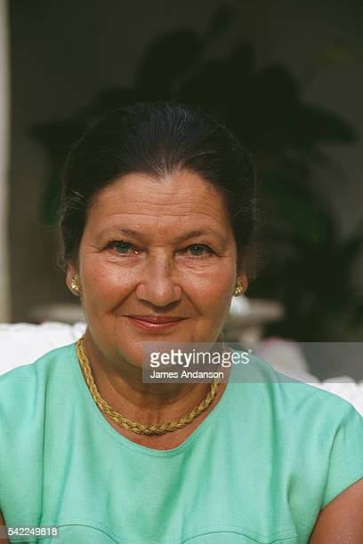 French Minister of Health Simone Veil with her husband politician Antoine Veil on holiday in Beauvallon