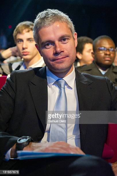 French Minister of High Educationa nd Research Laurent Wauquiez attends the convention 'Knowledge and education for all' at Bobino on November 8 2011...