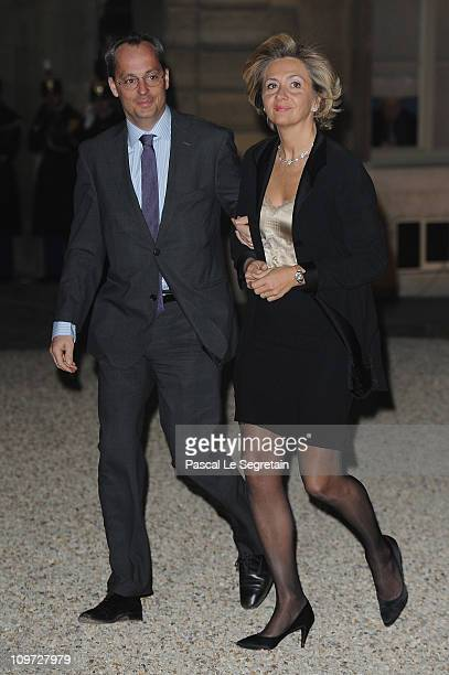 French Minister of Higher Education and Research Valerie Pecresse and husband arrive to attend a state dinner with South African President Jacob Zuma...